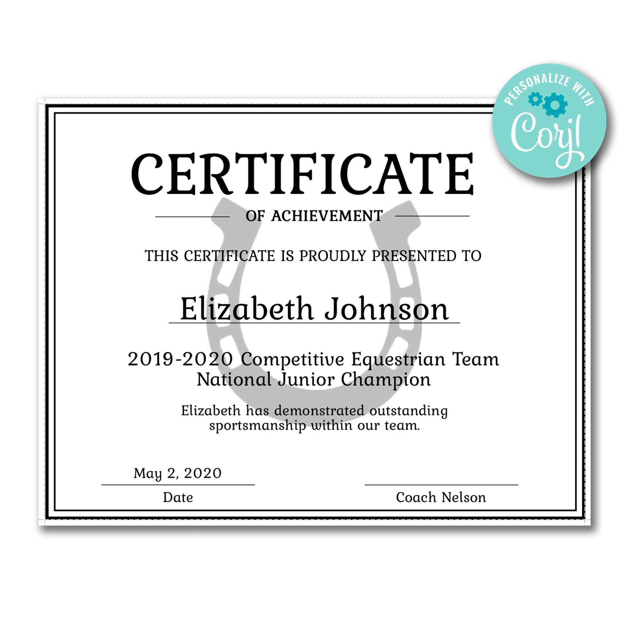 Horseshoe Certificate Certificate Templates Professional
