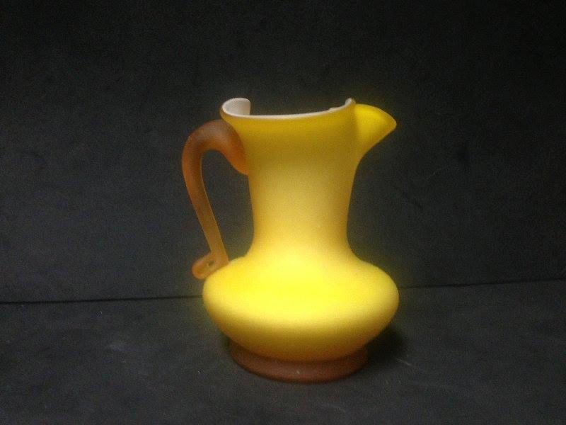 Vintage Kanawha Glass Cased Yellow #2 Matte Finish Cream Pitcher with Applied Frosted Handle by AGlassBoutique on Etsy