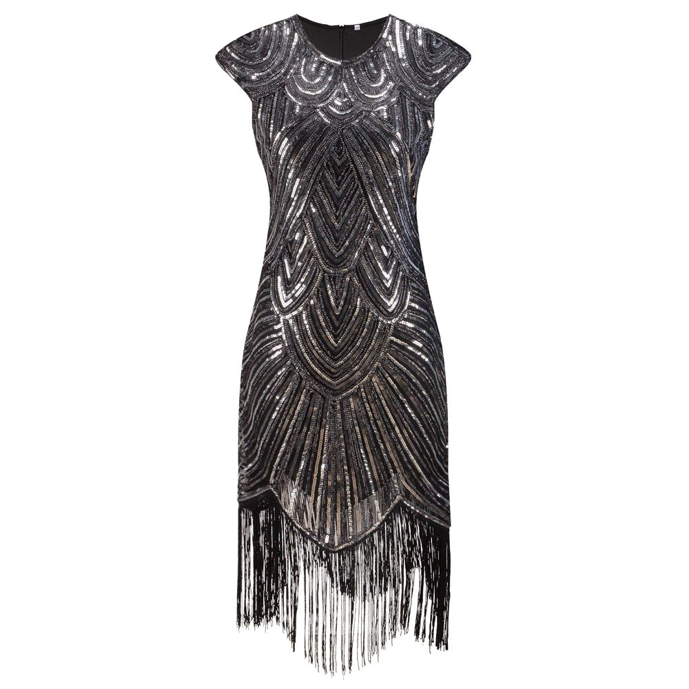 Shining Woman 1920s Flapper Dress Vintage Great Gatsby Charleston Sequin  Fringe Evening Party Dress Plus Size