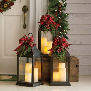 Decorated Three-Candle Lantern #christmasdecorations