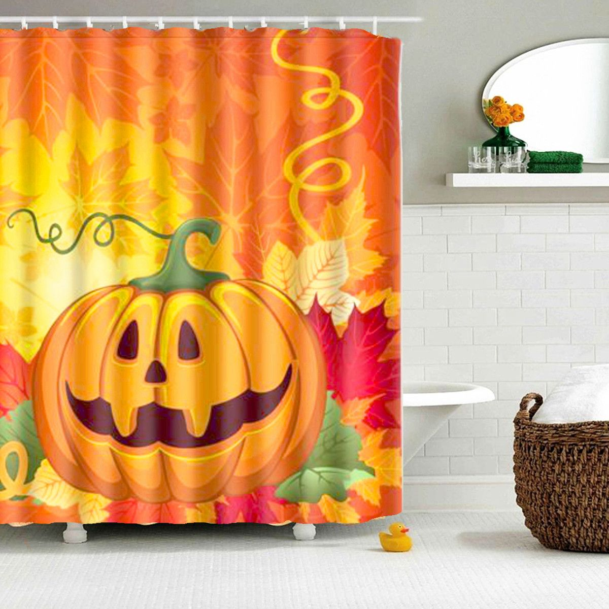 150x180cm 3D Halloween Ghost Pumpkin Polyester Shower Curtain Bathroom  Decor With 12 Hooks