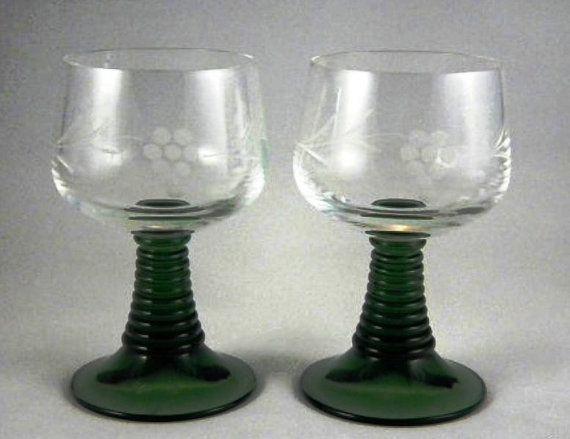 Roemer Schott Vintage Green Stemmed Cordial Glass Set