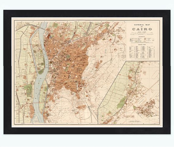 Old Map Of Cairo Egypt By OldCityPrints On Etsy OLD - Map of egypt 1920