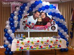 15 Blue and Silver Balloon Arch column tips Pinterest