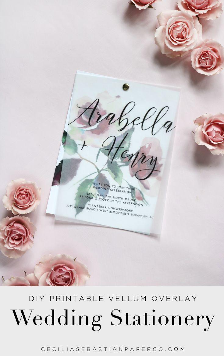 Watercolor Rose Floral Vellum Overlay Wedding Invitation