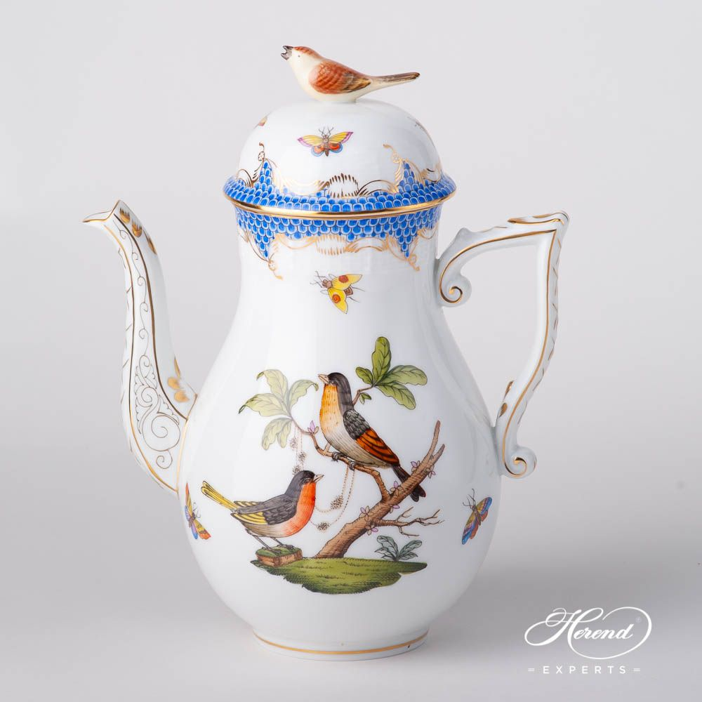 Coffee Pot - Rothschild Bird Blue Fish Scale | Herend Experts #coffeepots