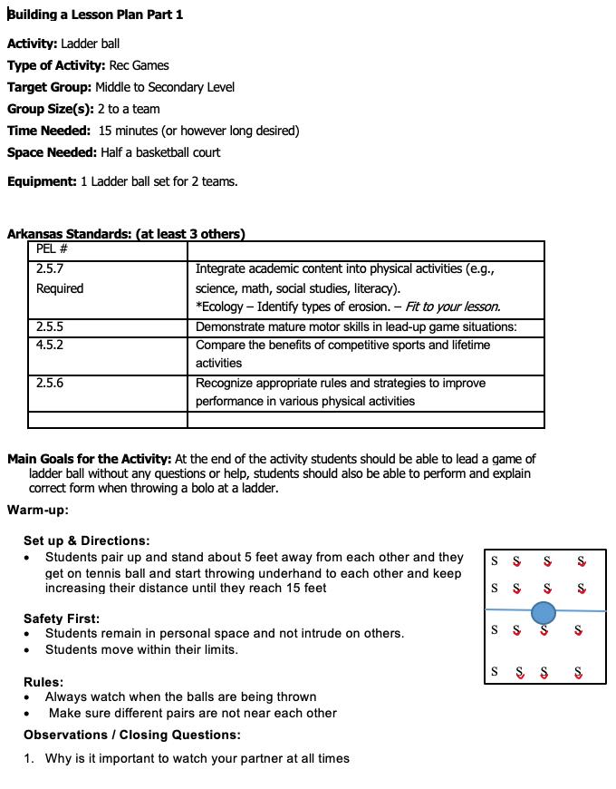 Ladder Ball Lesson Plan Part 1 Lesson Plans Outdoor Education