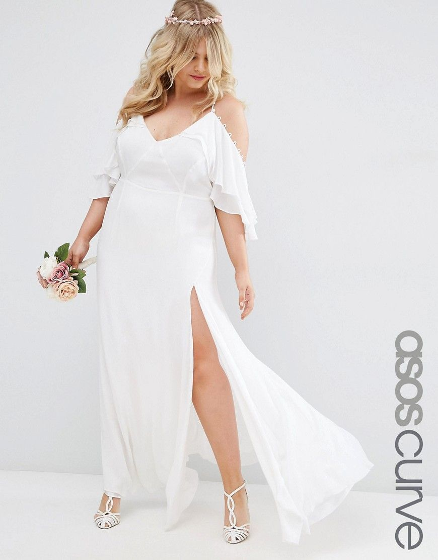 Asos curve bridal button ruffle maxi dress with cold shoulder