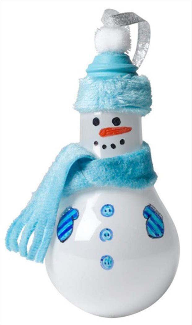 Light bulb snowman, christmas crafts