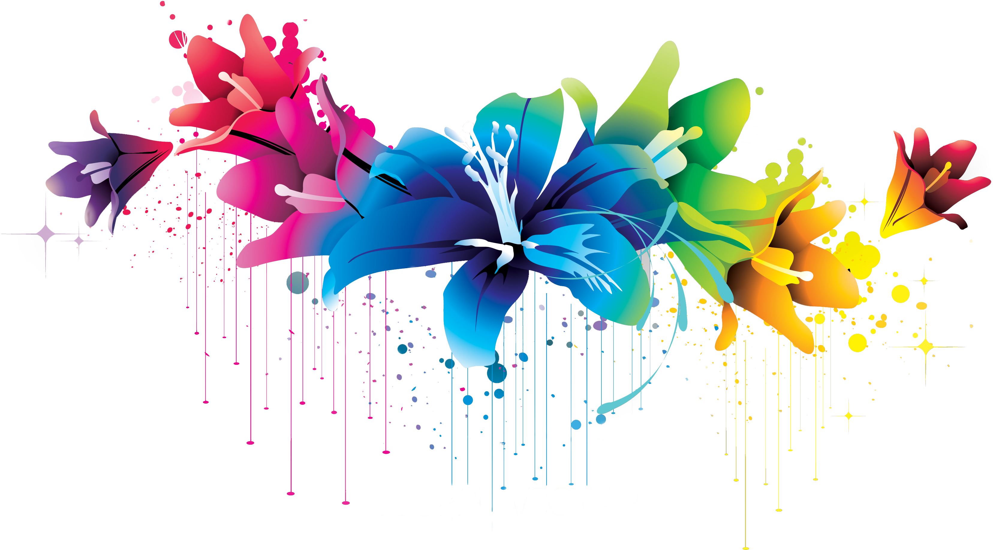 Colorful Flower Vector Clipart PNG 02 By BrielleFantasy On