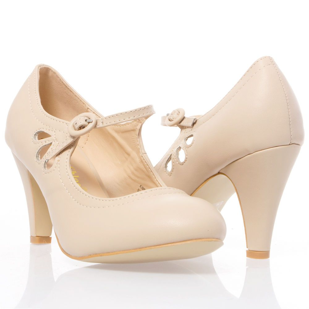 Details about Nude Round Toe Cut Out Ankle Strap Mary Jane Med Low ...