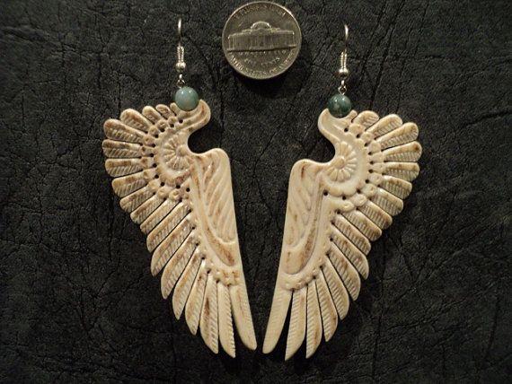 Carved deer antler earrings with indian pattern wings