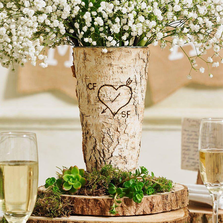 26 Rustic Wedding Ideas That Still Feel Elevated: Personalised Rustic Birch Wood Vase