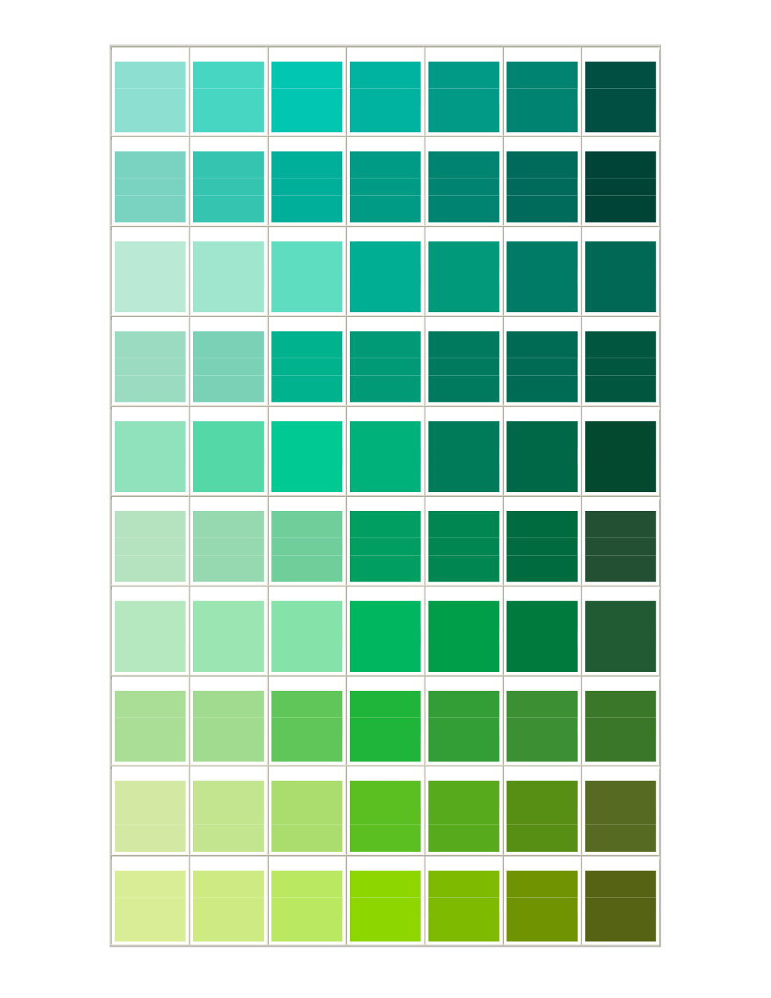Green Colors For Living Rooms: Green Color Chart