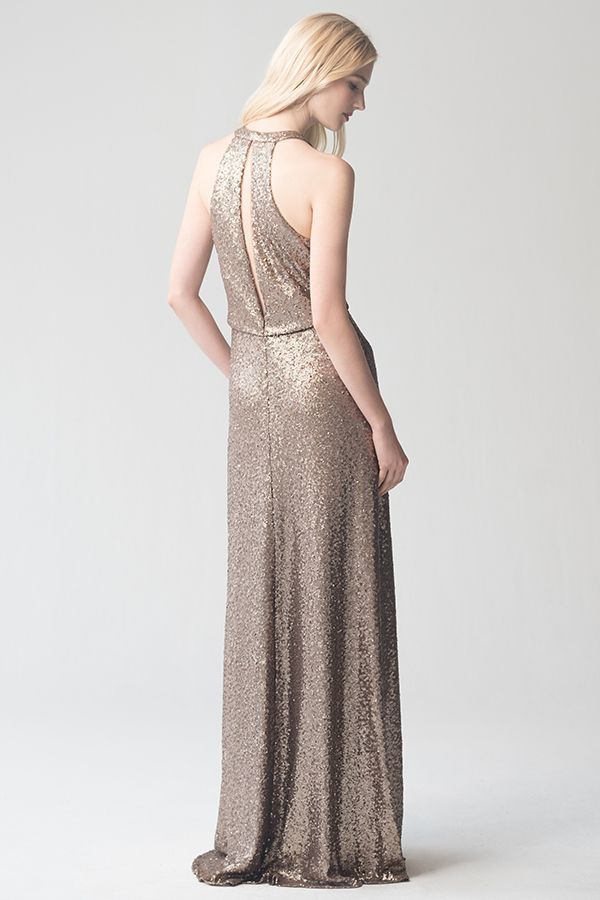 2156173074335 Sloane Dress in Hazel Sequin Tulle by Jenny Yoo. Gold, metallic sequin bridesmaids  dress. For an elegant, formal, classic wedding.