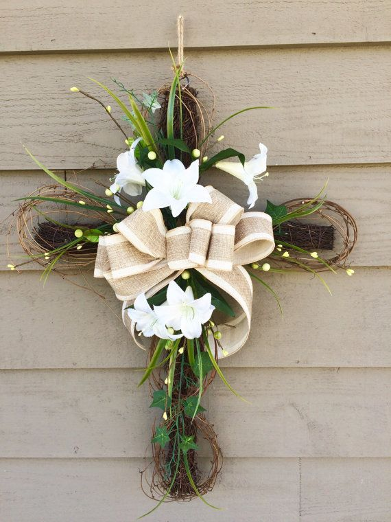 Easter Cross Floral Cross Cross Door Hanger Easter Wreath Front Door Wreath Easter Decoration Easter Easter Door Hanger Cross Door Hangers Easter Wreaths