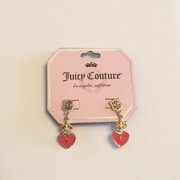 SOLDNew Juicy Couture Crown Heart Earrings New juicy Couture crown heart earrings, pierced, rhinestone studded, coral color Juicy Couture Jewelry Earrings