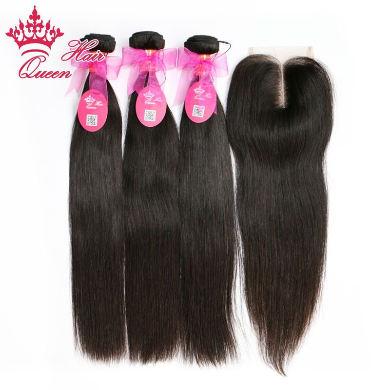 Queen Hair 3pcs Brazilian Virgin Human Hair With Middle Part Lace Closure Straight Total 4Pcs/Lot DHL Free Shipping