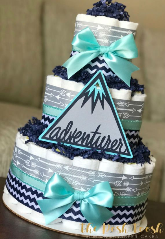 Adventure Awaits Arrow Diaper Cake, Gray Navy Teal Mountain Boy Baby Shower,  Baby Shower Centerpiece, Baby Shower Decoration, Gift, 3 Tier
