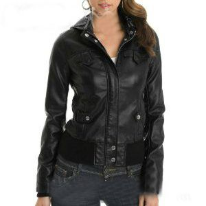 Black Bomber Biker Leather Jacket With Stretchable Waist Front Buttons Zip