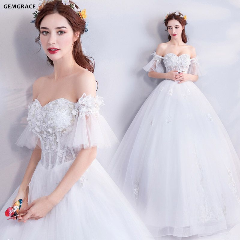 961aa2579ad95 $162, Fairy Butterfly Sleeve Ball Gown Wedding Dress With Off Shoulder  #T69142 at GemGrace