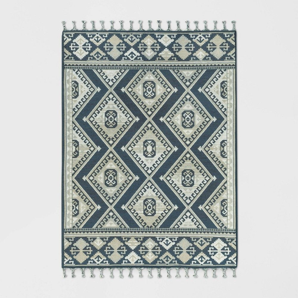 2 4 X7 Diamond Woven Accent Rug Navy Threshold Adult Unisex Blue Rugs Navy Rug Accent Rugs