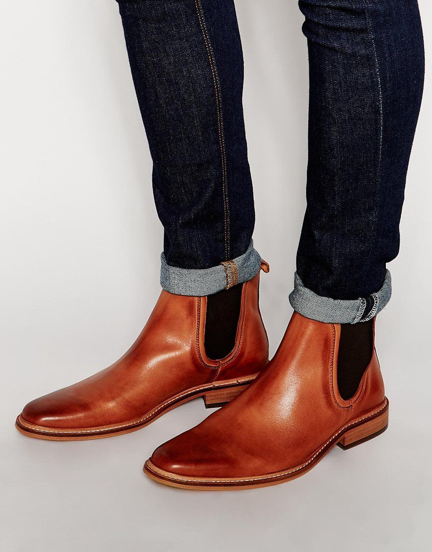Buy Men Shoes / Dune Leather Manderin Chelsea Boots