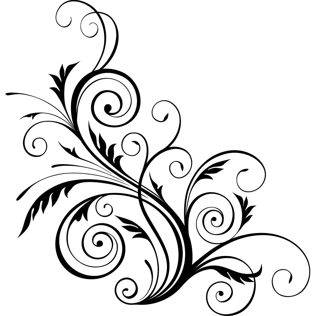 Floral swirls decorative wall art stickers wall decal