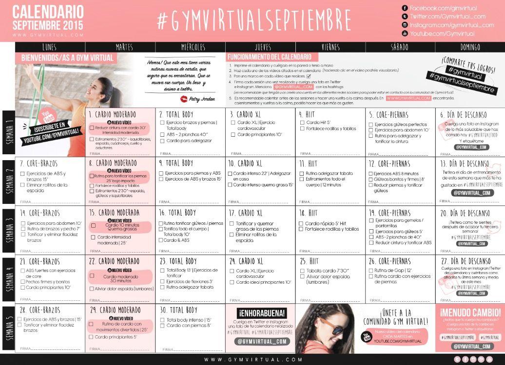 Calendario Septiembre Gymvirtual.Sin Titulo Retos Rutinas Fitness Entrenamiento Mensual