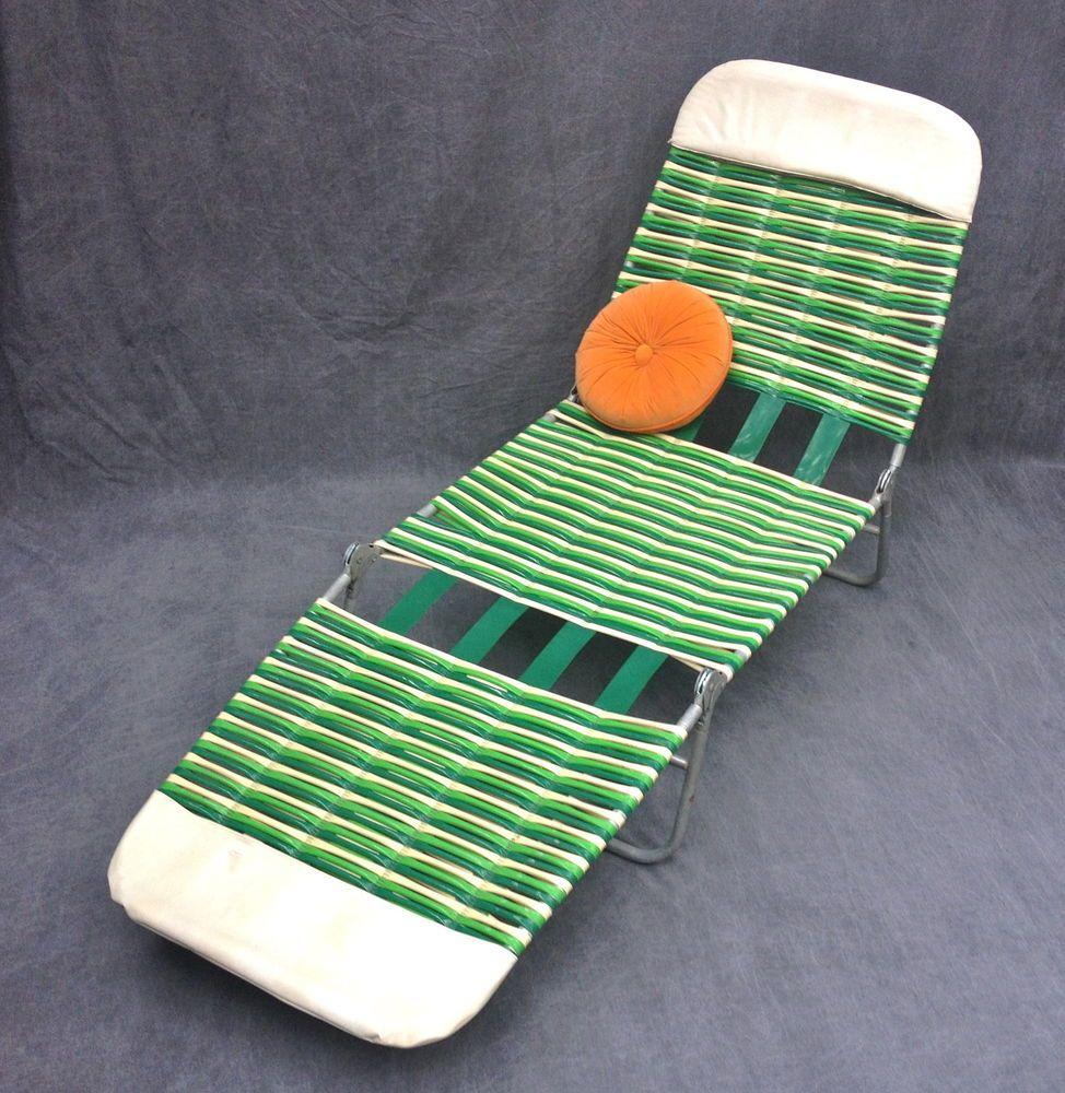 Delightful VTG Plastic Vinyl Tube Strap Chaise Lounge Folding Patio Lawn Chair  Greens/White