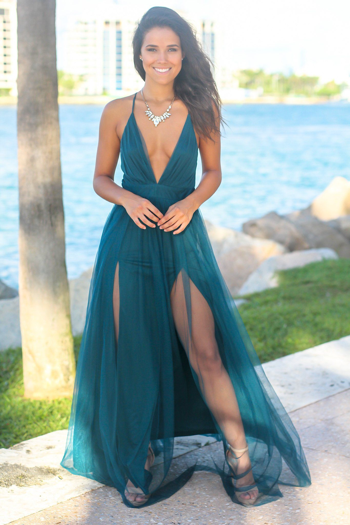 88e88fbd83 Teal Tulle Maxi Dress with Criss Cross Back | Maxi Dresses – Saved by the  Dress