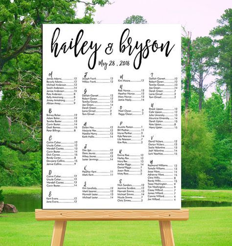 Wedding seating chart printable alphabetical or by table number