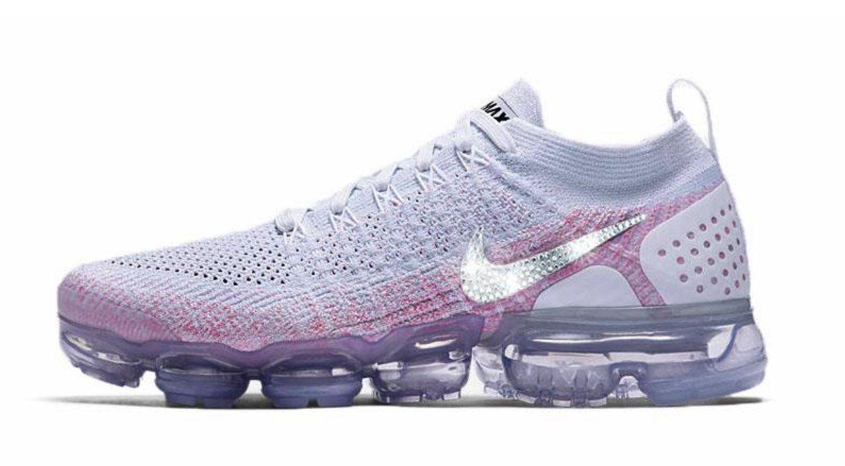 c284cb04dcb07 Women s Swarovksi Nike Air VaporMax Flyknit 2 + Crystals - White Pink ~ Nike  Swarovski ~ Blinged Out