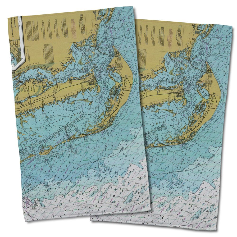 Fl sanibel island pine island fl nautical chart hand towel fl sanibel island pine island fl nautical chart hand towel set of nvjuhfo Gallery