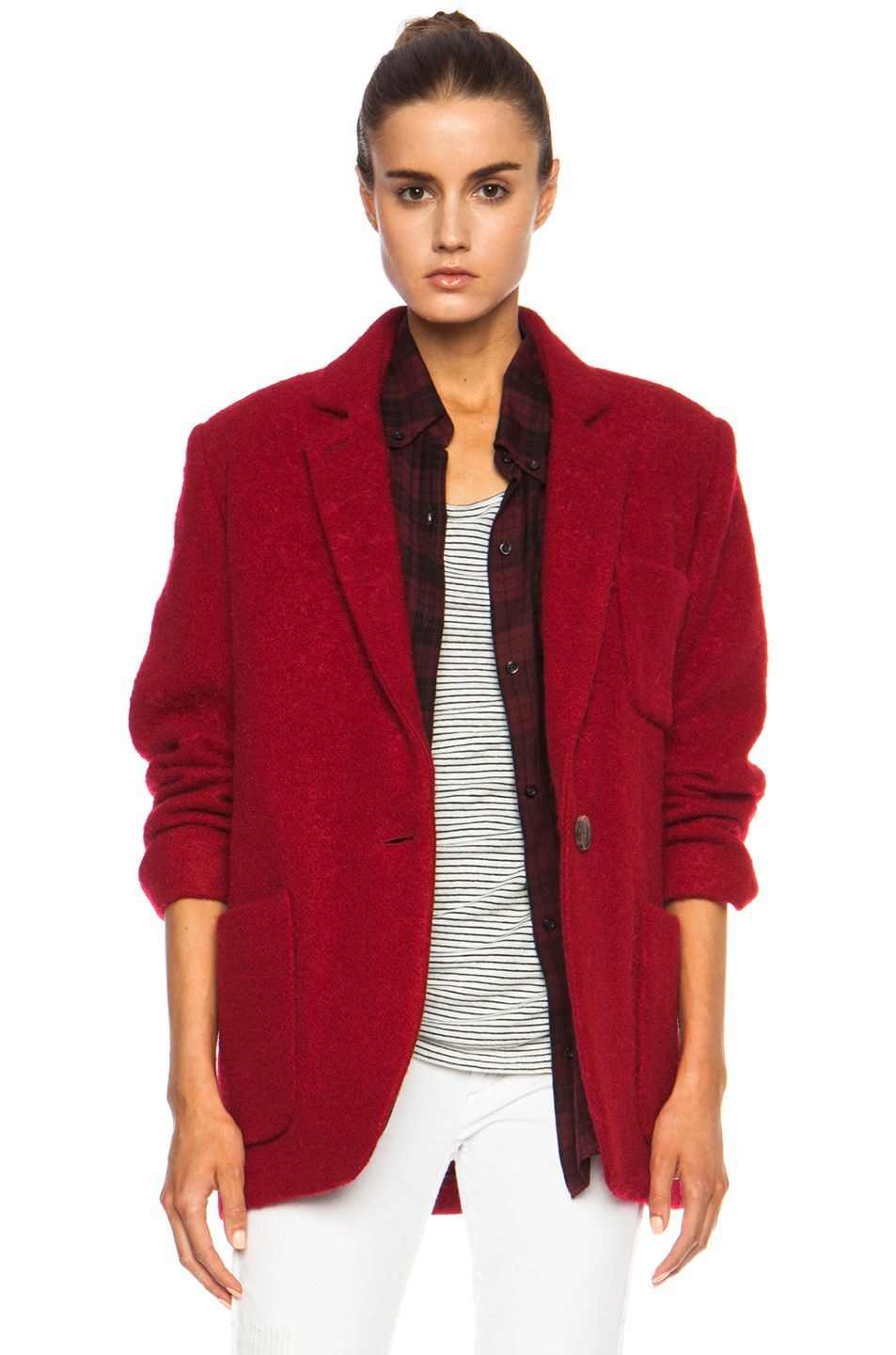 Isabel Marant Jady Shepard Mohair Blend Jacket In Red Jackets Isabel Marant Red