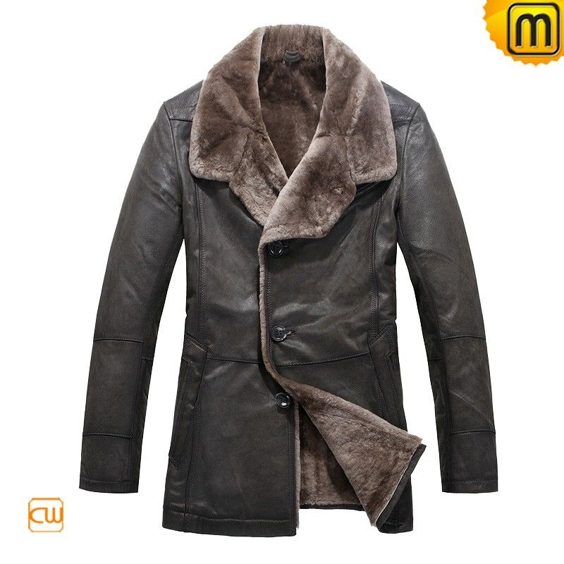 Leather Coats for Men | Mens Winter Fur Lined Leather Coat JACKETS ...