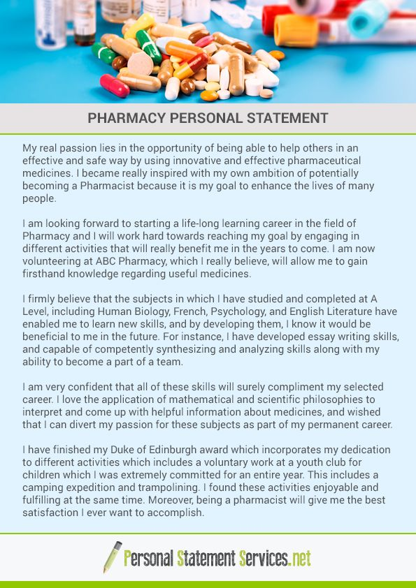 Pharmacy Personal Statement Example
