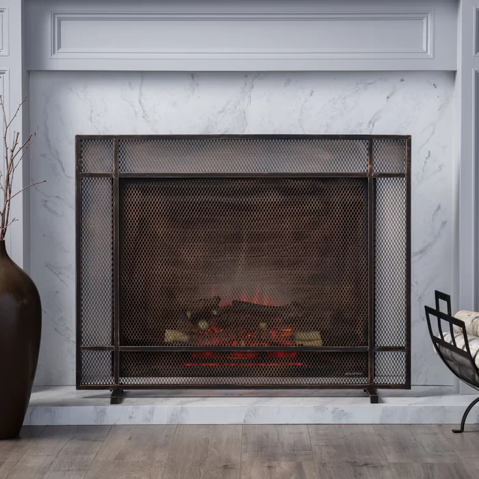 Erick 1 Panel Iron Fireplace Screen In 2020 Fireplace Screens Wrought Iron Fireplace Screen Classic Fireplace