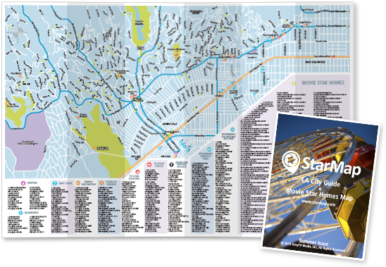 Starmap City Guide And Movie Star Celebrity Homes Map House
