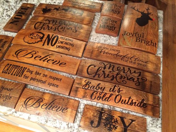 Wine Barrel Stave Holiday Sign