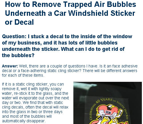 Removing Trapped Air Under A Car Decal Stuck Onto The Windshield Window Stickers Window Vinyl Decals