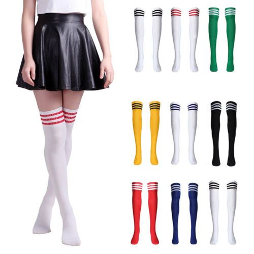 Girl Ladies Cotton Stripe Thigh High Stockings Over Knee Long Socks Soccer Sport