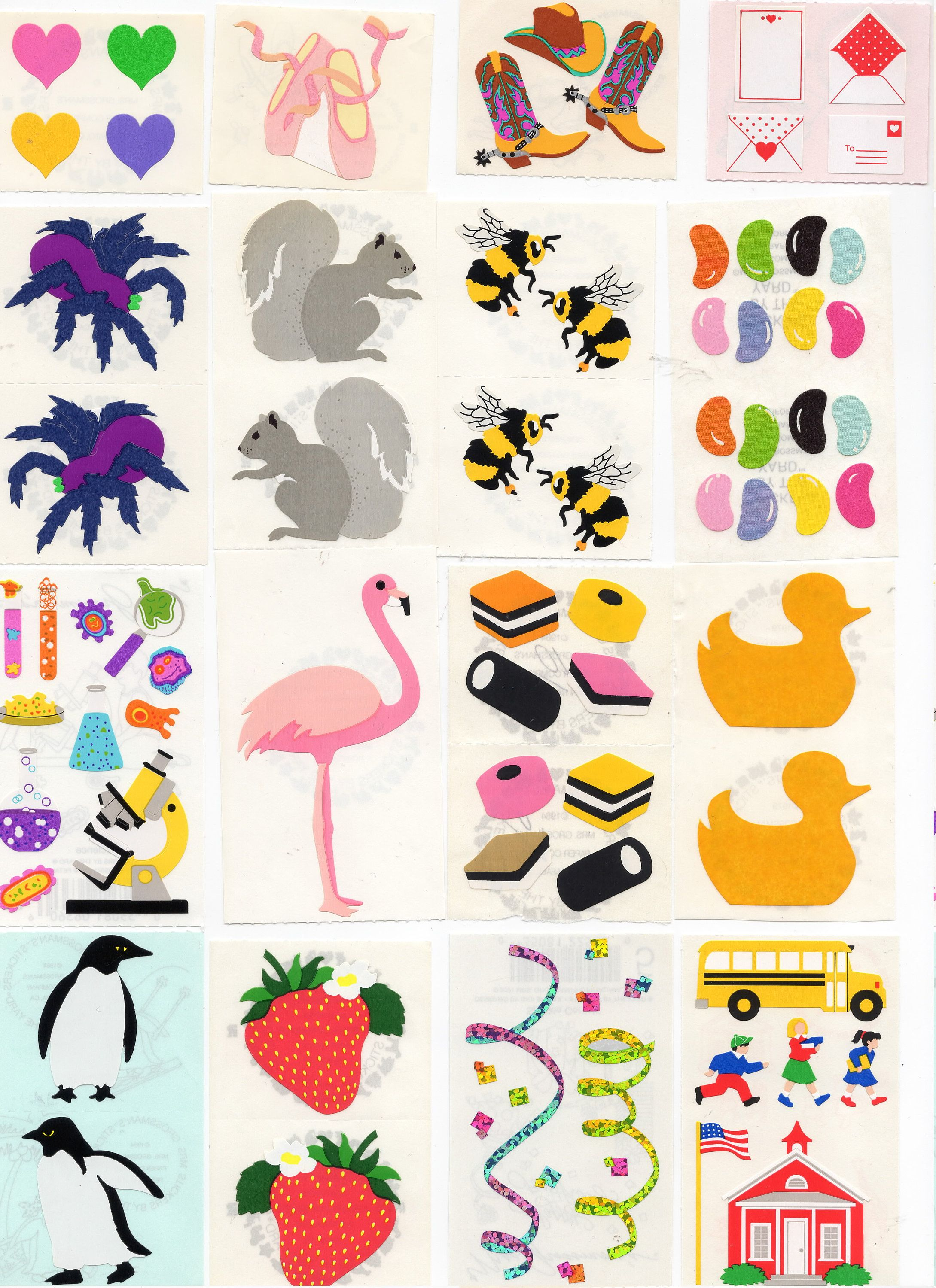 Mrs Grossman PRESENTS Strip of VINTAGE 1990 Stickers Colorful Presents/'