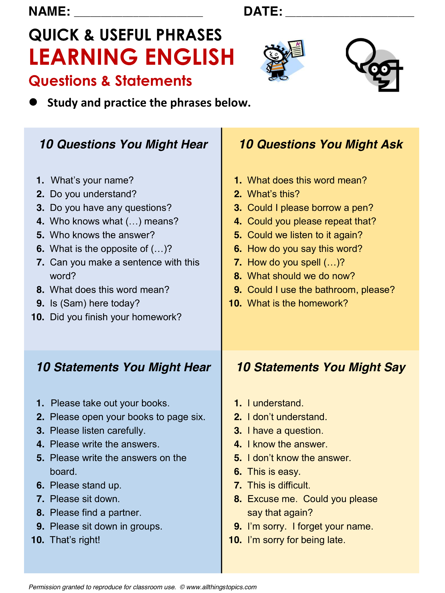 Learn english make questions exercises