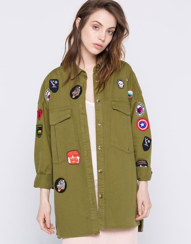 MILITARY OVERSHIRT WITH PATCHES - JACKETS U0026 BOMBER JACKETS - WOMAN - PULLu0026BEAR Romania | FASHION ...