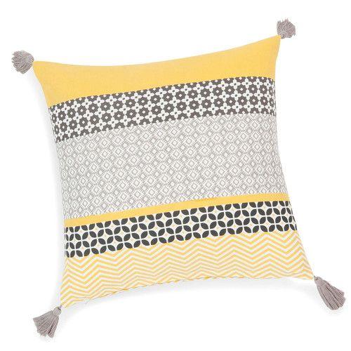 housse de coussin à pompons en coton jaune/grise 40 x 40 cm sunny