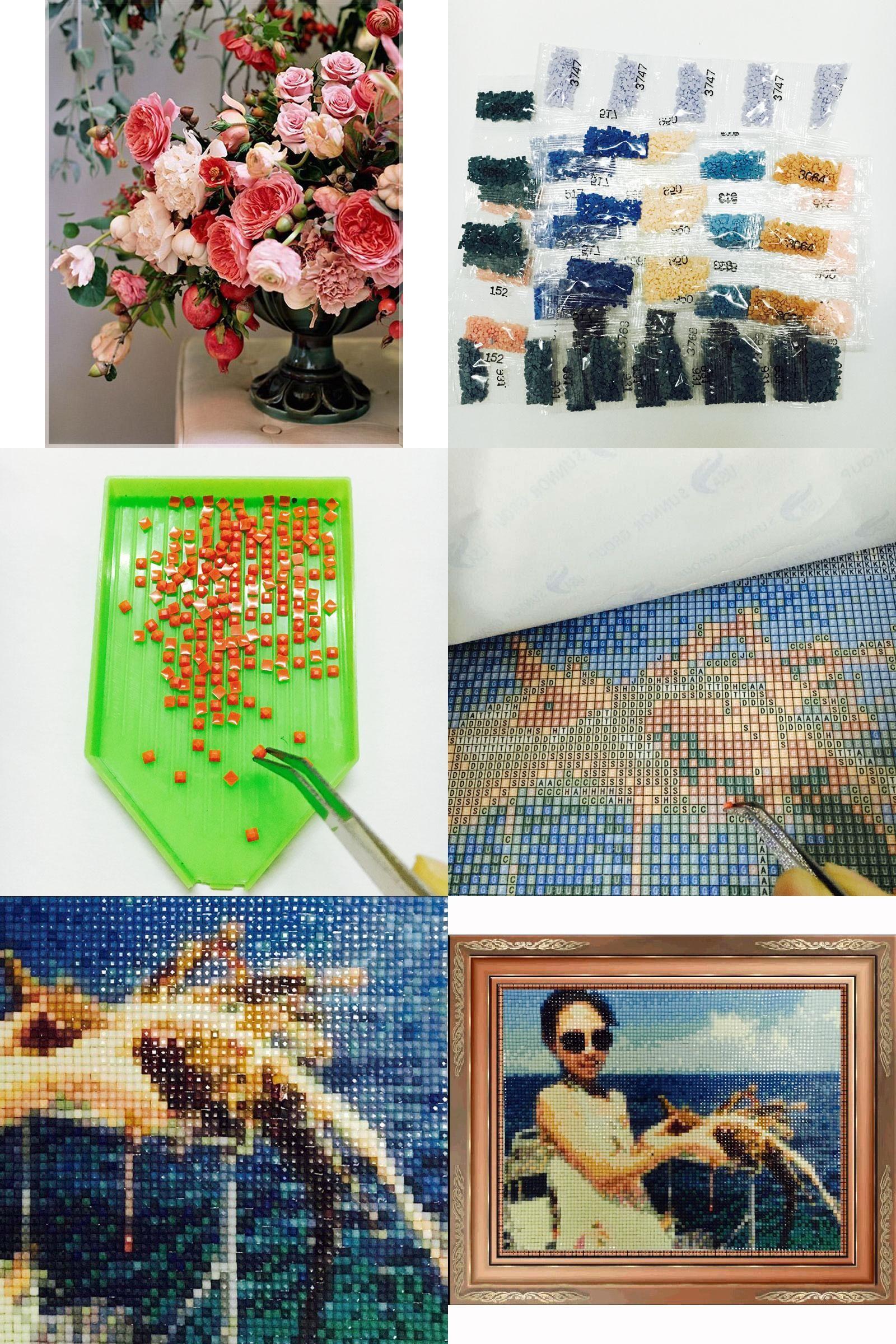 [Visit to Buy] NEW 3D Diamond Painting Cross Stitch Rose vase Crystal Needlework Diamond Embroidery Flower Full Diamond Decorative #Advertisement