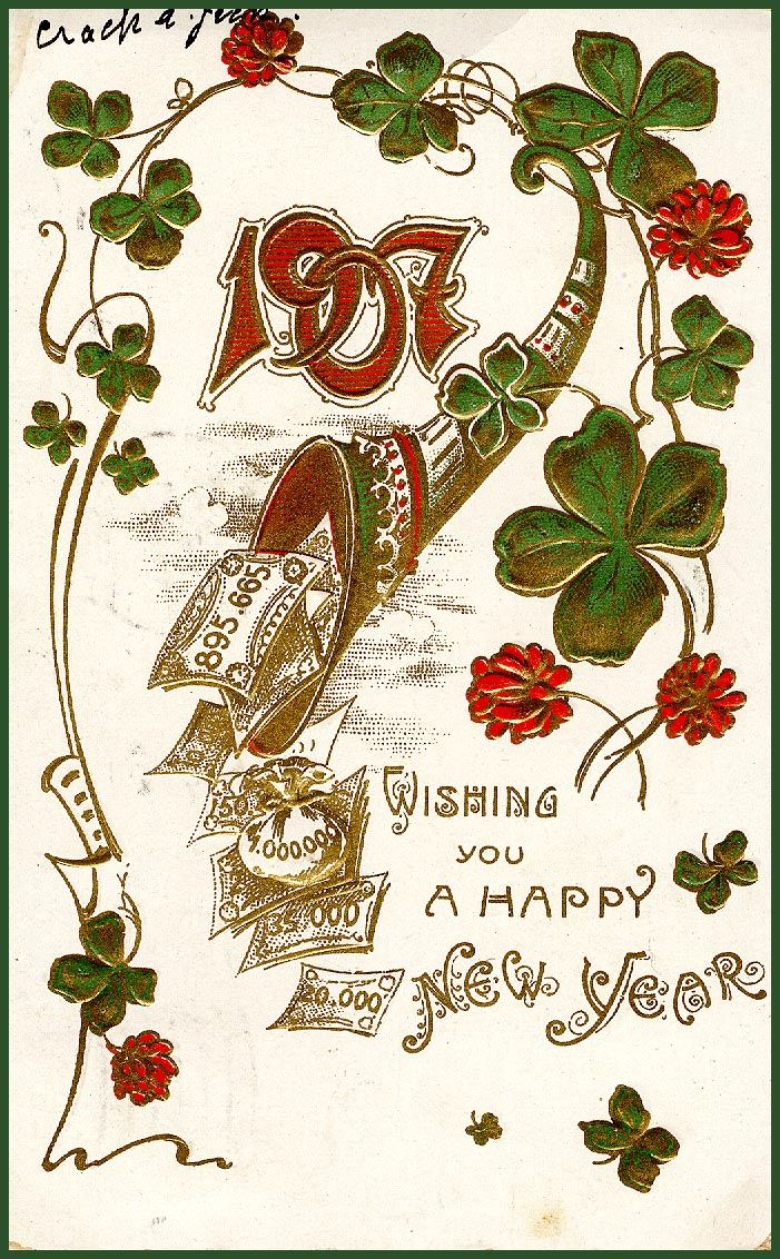 Weihnachtsbilder Antik.New Years Antique Postcard 1907 The Year My Dad Was Born