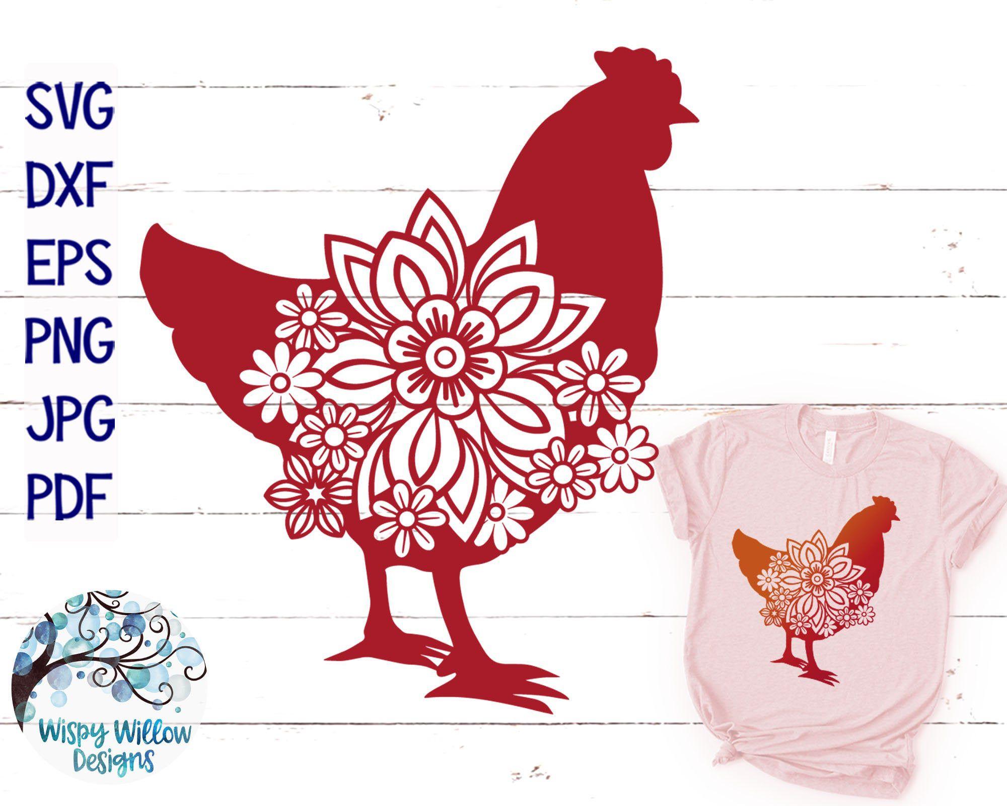 Floral Chicken Svg Dxf Png Jpg Chicken Svg Chicken Etsy In 2020 Svg Farm Animals Chicken Images