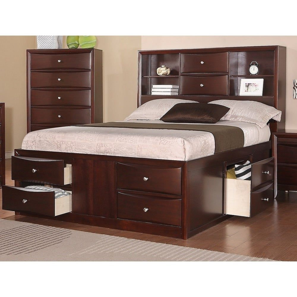 Yorkdale Queen Bookcase Storage Bed Oak Bedroom Furniture